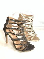 new women's caged glitter rhinestone heels stiletto party wedding evening