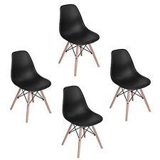 Set 4 sedie replica DSW EIFFEL in polipropilene NERO e gambe in legno rinforzate