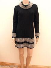 M&S Per Una Black Mohair Blend Cowl Neck Gold Lace Jumper Dress Sz UK 8