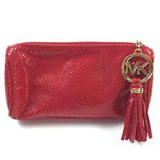 Michael Kors Red Snake Skin Print Cosmetic Case Make Up Clutch Envelope Bag NWOT