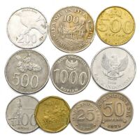 10 INDONESIA COINS FROM SOUTHEAST ASIA ISLAND OLD COLLECTIBLE COINS LOT RUPIAH