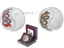 2 x 1 $ Dollar Lunar Jahr der Schlange Snake Yin & Yang Fiji 1 oz Silber PP 2013