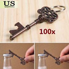 100pc - Antique Copper Skeleton Key Bottle Opener Vintage Wedding Party Favor US