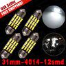 4x 6000K White 31mm 12SMD Festoon LED Dome Map License Plate Interior Light Bulb