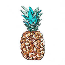 pineapple Embroidered Iron on Patch sewn Applique FOR clothing backpack Sequin