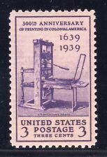 US STAMP #857 — 3c PRINTING PRESS XF MINT - GRADED 90