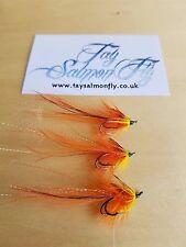 3x Flamethrower Pot Belly Pig Size 10 Double Hook Salmon Fishing Flies