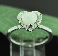 14k Solid White Gold   Natural Australian Opal Natural Diamond Ring heart opal