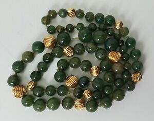 """ANTIQUE CHINESE CARVED GREEN JADE & 14K GOLD BEADED NECKLACE STRAND - 26"""""""