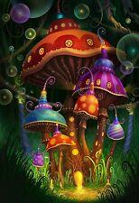 "Magic mushroom art Fabric poster 20"" x 13"" Decor 07"