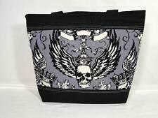 """NWT"" No Guts No Glory Skull Wings Charcoal Medium Multi Purpose Bag Purse"