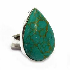 Green Copper Turquoise Gemstone .925 Silver Handmade Ring S-8 Y9281