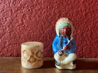 Vintage Sitting Indian Chief with Pipe and Drum - Salt & Pepper Shakers - Japan