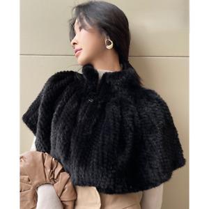 Handmade Knitted Genuine Mink Fur Shawl Poncho Women's Cape Coats Cloak