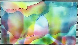 ABSTRACT CLOUDS  by Ruth Freeman ACRYLIC  ON UNSTRETCHED CANVAS  18  X 32
