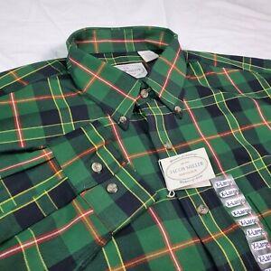 Jacob Miller Mens Flannel Shirt Wool Blend Green Tartan Plaid XL New NWT