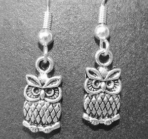 Tibetan silver owl dangle earrings on silver plated hook