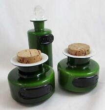 3 Holmegaard  Michael Bang Palet Green Cased Opal Glass Palet Jars with Stoppers