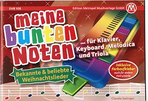 Melodica / Keyboard Noten : Meine bunten Noten - WEIHNACHTSLIEDER leicht FARBEN