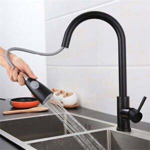 Modern Kitchen Sink Mixer Taps Pull Out Single Lever Stainless Steel 304 Spray