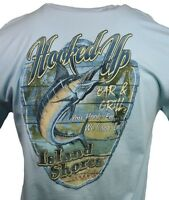 "Men's T-shirt ""Hooked Up "" Bar & Grill Fishing, Sailing Bahama-Island Shores-NWT"