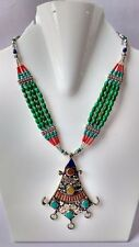 Natural Turquoise & Coral Tibetan Necklace with Pendant NN-9093