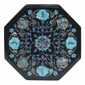 "12"" Black Stone Inlay Italian Marble Center  Coffee Table Top Octagon Malachite"