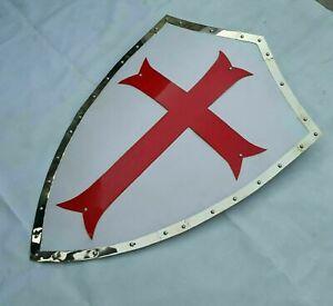 Medieval Steel Templar Crusader Shield Armor With Red Cross Heater Shield Armor
