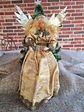 Vintage Koestel German Wax Angel Holds Candle Figure,Brocade,Metal Tinsel Trim