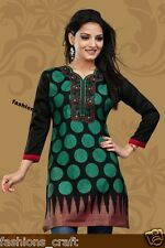 NEW Indian Designer Printed Black/Green Crepe Silk Kurtis Tunic Top Kaftan Women