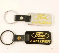 2 Ford Explorer Keychains Black Leather & Brass Chrome Key Chains USA Made