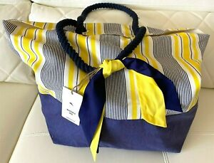 NWT Tommy Bahama Beach Tote Big Bag Yellow Blue Shopping Travel Lightweight
