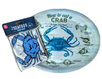 How To Eat A Crab Platters Plates Bibs Set Of 4 Reusable Melamine
