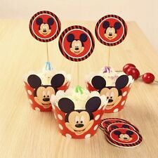 48 Pcs, 24 Mickey Mouse Cupcake Wrappers & 24 Toppers Kids Birthday Party Supply