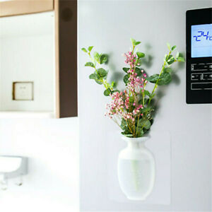 DIY Magic Rubber Silicone Sticky Flower Wall Mounted Vase Container Bottle White
