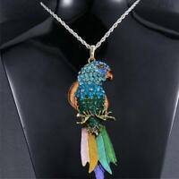 Bunte tier papagei kristall strass anhänger langschwanz vogel halskette geschen*