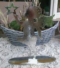 ángel con estrella plata 29cm brocante Shabby Jardín Terraza Adviento de Navidad