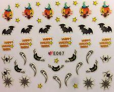 Halloween Nail Art Pegatinas Transferencias Bat estrellas Gato arañas calabazas Web (E067)
