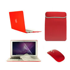 """5 in 1 Rubberized RED Case for Macbook Air 11""""+Key Cover+LCD +Sleeve Bag +Mouse"""