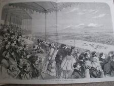 Horse RACING Epsom Derby dal Grand fianco M / S Morgan 1860 Old Print
