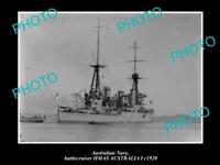 OLD LARGE HISTORIC PHOTO OF AUSTRALIAN NAVY SHIP HMAS AUSTRALIA I c1920