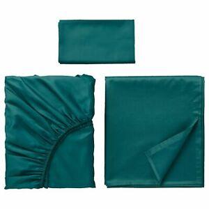 Ikea NATTJASMIN Twin Bed Sheet Set Sheets and Pillowcase 3-Piece Dark Green NEW