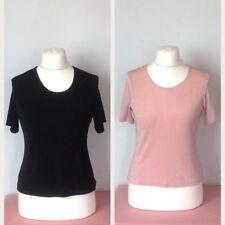 2 x Short Sleeve Slinky Stretch Jersey Tops Black / Pink 10