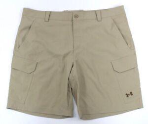 mens khaki UNDER ARMOUR fish hunter cargo shorts 1244207 woven loose 42 x 10