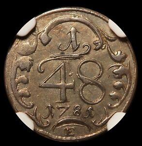 1781-E Germany Erfurt 1/48 Thaler Billon Coin - NGC XF Details - KM# 120
