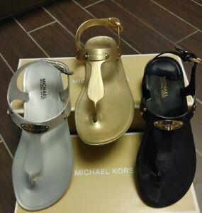 MICHAEL KORS Jelly Thong Sandal MK logo Plate Silver Gold Black NEW Optional BOX