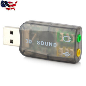 USB 2.0 to Mic/Speaker 5.1 3D Audio Sound Card Adapter for PC Laptop US