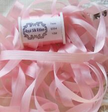 """100%Silk Embroidery Ribbon 1/4"""" Pale/Pink Color ~ 10 Yds Final Lots Closeout"""