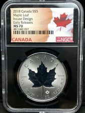 2018 $5 CANADA SILVER MAPLE LEAF INCUSE DESIGN NGC MS 70 EARLY RELEASE