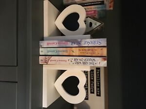 wooden heart picture insert bookend pair